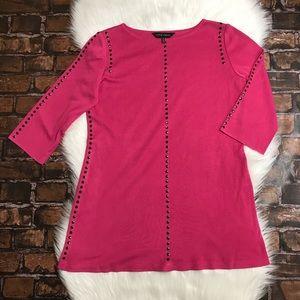 Ming Wang Pink Studded Sweater Tunic Top